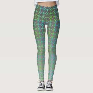 Ombre & Shades of Blue-Green, Geometric Tile Leggings