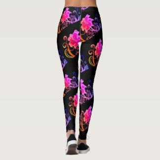ombre spring rose leggings