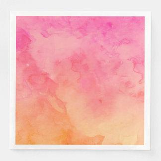 Ombre summer pink orange sunset watercolor wash paper napkin