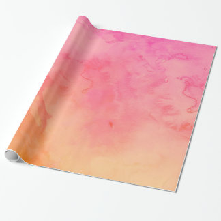 Ombre summer pink orange sunset watercolor wash wrapping paper