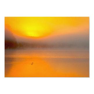Ombre Sunrise Shining on Two Ducks Nature Photo - 13 Cm X 18 Cm Invitation Card