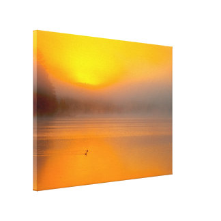 Ombre Sunrise Shining on Two Ducks Nature Photo - Stretched Canvas Prints