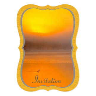 Ombre Sunrise Shining on Two Ducks Nature Photo - Personalized Announcement