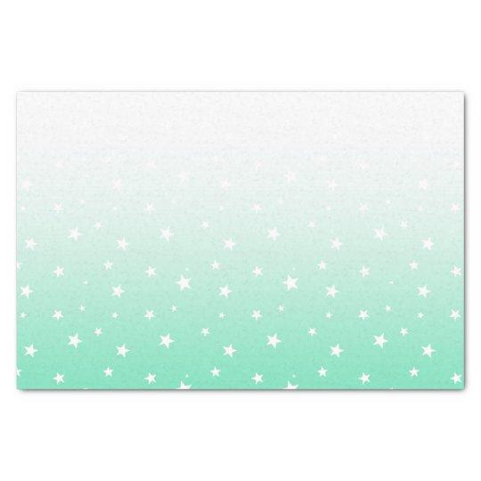 Ombre Teal Aqua Stars Tissue Paper