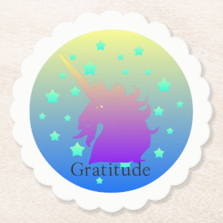 """Ombre unicorn with word gratitude"" Coasters. Paper Coaster"