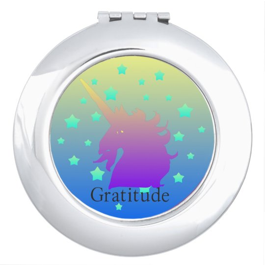 Ombre unicorn with word gratitude compact mirrors