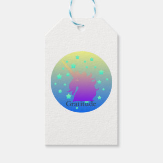 Ombre unicorn with word gratitude gift tags