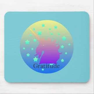 Ombre unicorn with word gratitude mouse mat