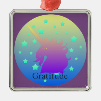 """Ombre unicorn with word gratitude"" Ornament. Christmas Ornament"