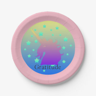 Ombre unicorn with word gratitude paper plate