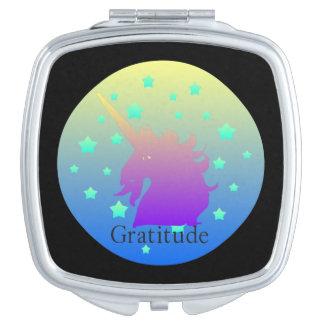 Ombre unicorn with word gratitude vanity mirror