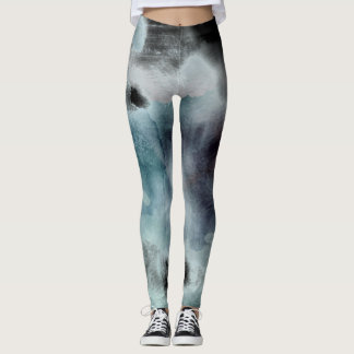 Ombre watercolor ikat hipster pastel nautical blac leggings