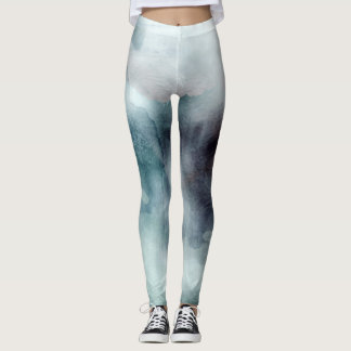 Ombre watercolor ikat hipster pastel nautical blue leggings