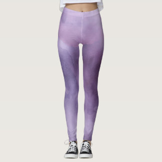 Ombre watercolor ikat hipster pastel purple lilac leggings