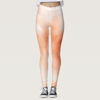 Ombre watercolor ikat hipster peach coral orange leggings