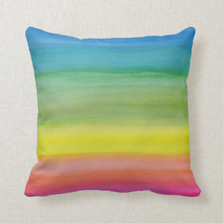 Ombre Watercolor Print Cotton Throw Pillow