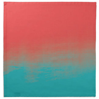 Ombre Watercolor Texture - Teal and Coral Napkin