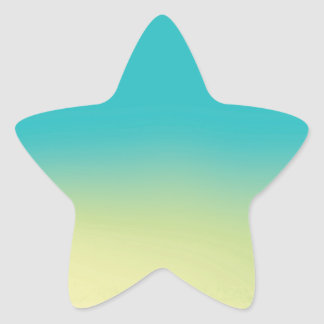 Ombre Watercolor Texture - Teal and Yellow Star Sticker