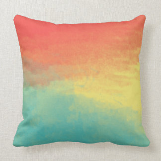 Ombre Watercolor Texture - Teal, Coral, Yellow Sun Cushion