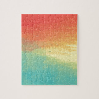 Ombre Watercolor Texture - Teal, Yellow, Coral Jigsaw Puzzle