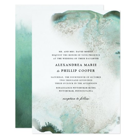 Ombre Watercolor Wedding Invitation Suite | GREEN