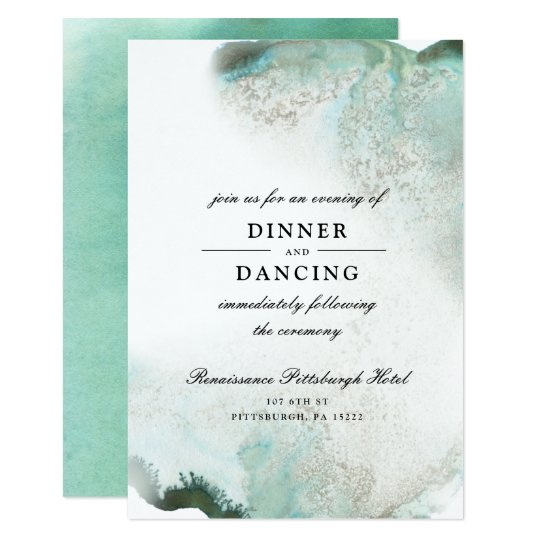 Ombre Watercolor Wedding Reception Card | GREEN