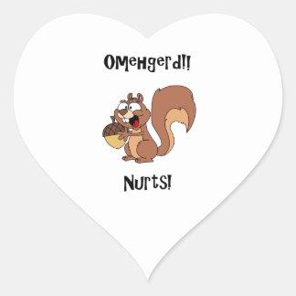 Omehgerd Nurts! Squirrel (Oh My God, Nuts) Heart Sticker