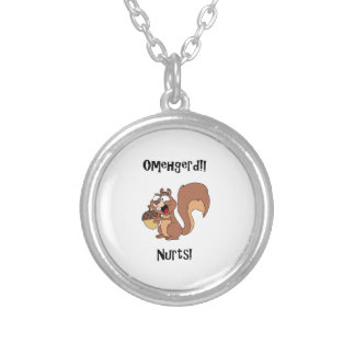 Omehgerd Nurts! Squirrel (Oh My God, Nuts) Round Pendant Necklace