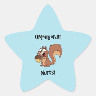 Omehgerd Nurts! Squirrel (Oh My God, Nuts) Star Sticker