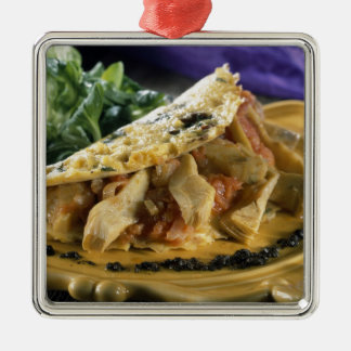 Omelette with dill and vegetables in the christmas ornament