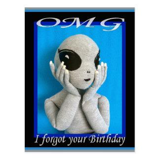 OMG Alien - Forgotten Birthday Postcard