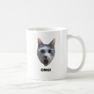 OMG CAT! (what has he seen?) Basic White Mug