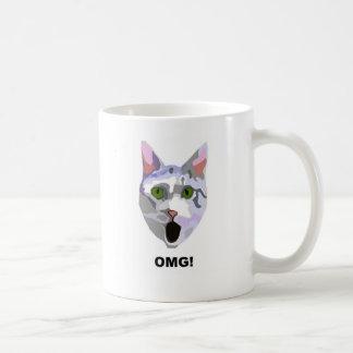 OMG! CAT 'what has he seen?' Basic White Mug