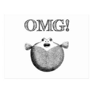 OMG Cute Funny Blowfish Illustration Postcard