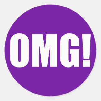 OMG! (dark) White on Purple Round Sticker