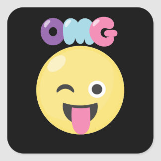 OMG Emoji Square Sticker