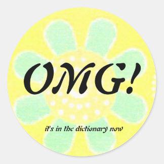 OMG English Language Round Sticker
