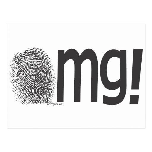omg fingerprint text postcards