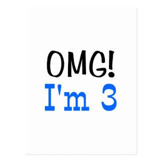 OMG I'm 3 (blue) Post Card