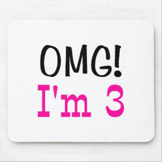 OMG I'm 3 (pink) Mouse Pad