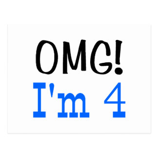 OMG I'm 4 (blue) Postcard