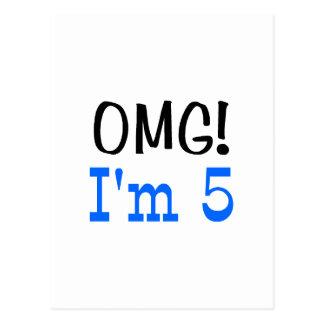 OMG I'm 5 (blue) Postcard