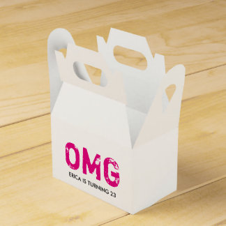 OMG It's Your Birthday Gable Favor Box - Hot Pink