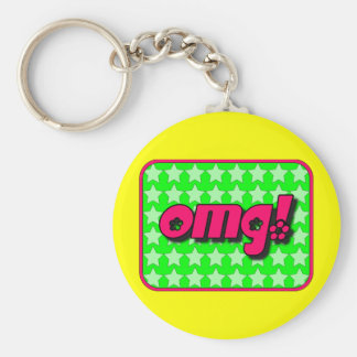 OMG! Keychain with coloured background