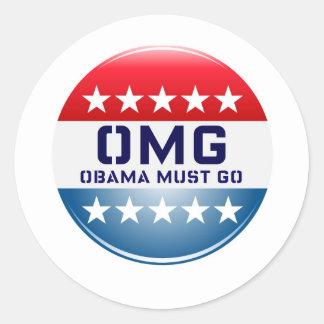 OMG OBAMA MUST GO CAMPAIGN 2012 PRINT ROUND STICKER