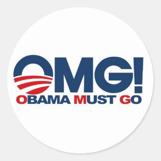 OMG! Obama Must Go Classic Round Sticker