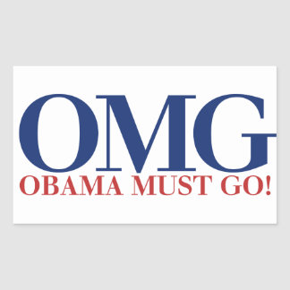 OMG Obama Must GO Rectangular Sticker