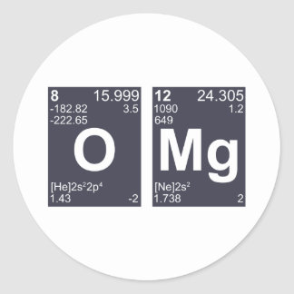 OMG Oh My God Periodic Table Elements Round Sticker