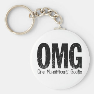 OMG: One Magnificent Goalie (Hockey) Basic Round Button Key Ring