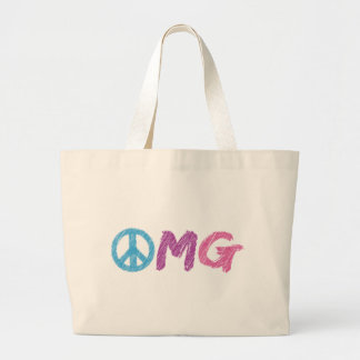 omg peace sign large tote bag